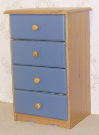 Verona Blue Pine Bedside 4 Drawer