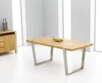 Charlotte Oak And Stainless Dining Table 180cm (Table Only)