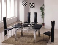 Detroit Glass Extending Dining Table - Black - Table Only