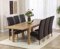 Vermont Dining Table - Extending - with 6 Leather Chairs