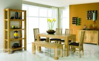 Cuba Oak 150cm Dining Table w Bench and 4 Slatted Chairs
