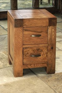 Santana Reclaimed Oak 2 Drawer Bedside Cabinet