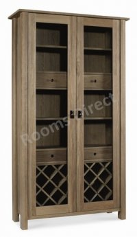 Coniston Oak Display Cabinet With Wine Rack
