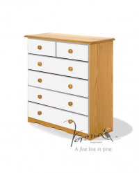 Verona White Pine Chest 4+2 Drawer
