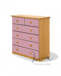 Verona Pink Pine Chest 4+2 Drawer