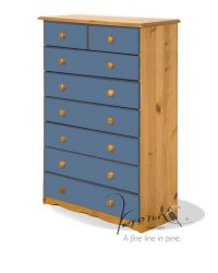 Verona Blue Pine Chest 6+2 Drawer