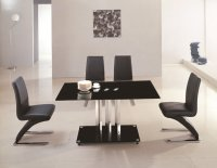 Tripoli Glass Dining Table - Black - Plus 4 x RD-632 Chairs