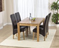Vermont Dining Table 120cm with 4 Leather Dining Chairs