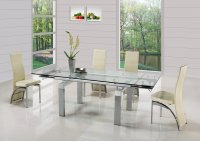 Madrid Glass Extending Dining Table - Clear - Plus 6 x RD-525 Ch