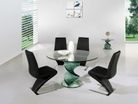 Twirl Glass Round Dining Table - Clear - Plus 4 x RD-632 Chairs