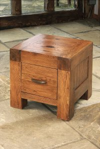 Santana Reclaimed Oak Lamp Table With 1 Drawer