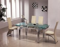 Detroit Glass Extending Dining Table - Frosted - Plus 6 x RD-501