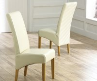 Roma Oak and Leather Dining Chair Cream (Pair)