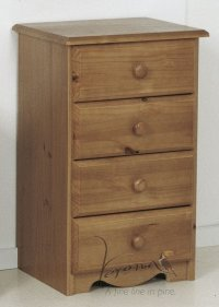 Verona Antique Pine Bedside 4 Drawer