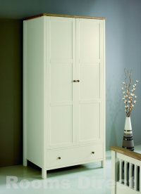 Atlantis Painted Two Tone Double Wardrobe with Drawer