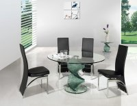 Twirl Glass Round Dining Table - Clear - Plus 4 x RD-501 Chairs