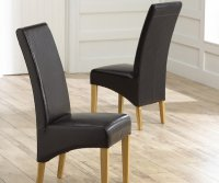 Roma Oak and Leather Dining Chair Black (Pair)