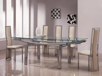 Detroit Glass Extending Dining Table - Frosted - Plus 6 x RD-601