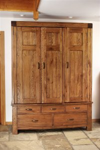 Santana Reclaimed Oak Triple Wardrobe With Drawers