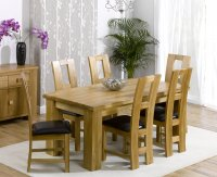 Brussels Oak Dining Table Plus 6 Oak and Leather Chairs