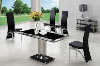 Geneva Glass Extending Dining Table - Black - Plus 4 x RD-501 Ch