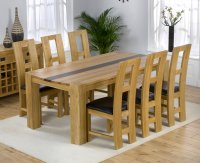 Milan Oak Walnut Dining Table Plus 6 Oak Leather Chairs