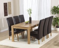 Vermont Dining Table 180cm with 6 Leather Dining Chairs