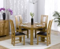 Hawarden Round Dining Table with 4 Oak and Leather Chairs