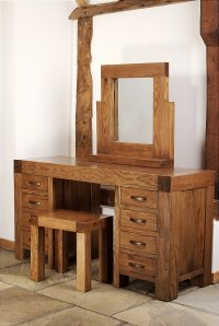 Santana Reclaimed Oak Dressing Table - Stool - Mirror
