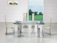 Madrid Glass Extending Dining Table - Clear - Plus 6 x RD-601 Ch