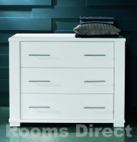 Metro White 3 Drawer Wide Chest