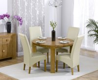 Hawarden Round Dining Table with 4 Leather Chairs