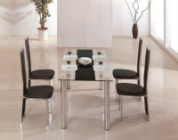 Tampa Glass Black Dining Table - Plus 6 x RD-601 Chairs