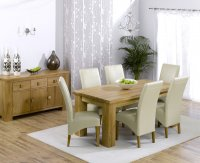 Brussels Oak Dining Table Plus 6 Leather Chairs