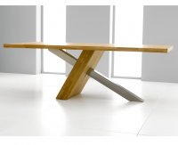 Monterrey Oak And Stainless Dining Table 180cm (Table Only)