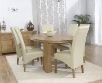 Hawarden Oval Dining Table with 6 Leather Chairs