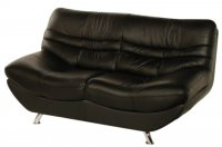 Carmen Leather Settee 2 Seater Black