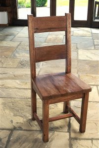 Santana Reclaimed Oak Dining Chair With Solid Seat (Pair)