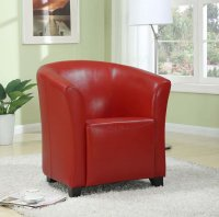 Seattle Tub Chair - Red Leather - Single