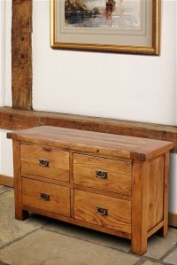 Brooklyn Reclaimed Oak Chest Of Drawers Long 4 Drawer