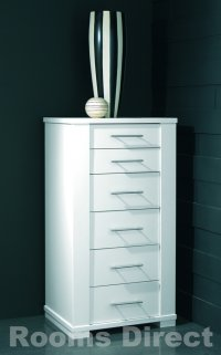 Metro White 6 Drawer Tall Chest