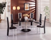Montreal Glass Round Dining Table - Black - Plus 6 x RD-601 Chai