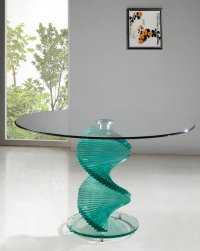 Twirl Glass Round Dining Table - Clear - Table Only