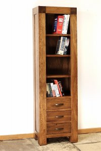 Santana Reclaimed Oak Slim Bookcase With 3 Drawers