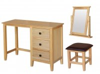 Avignon Solid Oak Dressing Table Stool Mirror