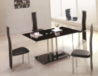 Tripoli Glass Dining Table - Black - Plus 4 x RD-501 Chairs