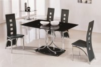 Nimes Glass Dining Table - Black - Plus 6 x RD-501 Chairs