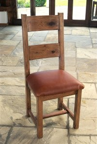 Santana Reclaimed Oak Dining Chair With Leather Base (Pair)