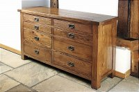 Brooklyn Reclaimed Oak Chest Of Drawers Long 8 Drawer