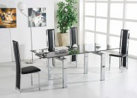 Madrid Glass Extending Dining Table - Black - Plus 6 x RD-601 Ch